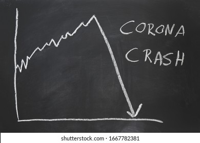 corona crash - hand-drawn graph on chalkboard showing stock market collapse or financial economy crisis caused by coronavirus