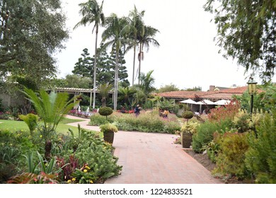 Corona del Mar, CA. U.S.A. Oct. 14, 2018. Sherman Library and Gardens is a grand conservatory offering visitors beautiful plants, blooming flowers worldwide, red brick walkways, French menu dining