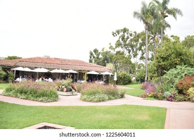 Corona del Mar, CA. U.S.A. Oct. 14, 2018. Sherman Library and Gardens is a grand conservatory offering visitors beautiful plants, blooming flowers worldwide, cacti, red brick walkways, French menu