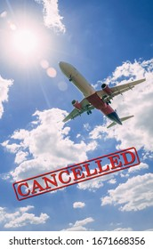 Corona virus cancelled flights, the word cancelled in red