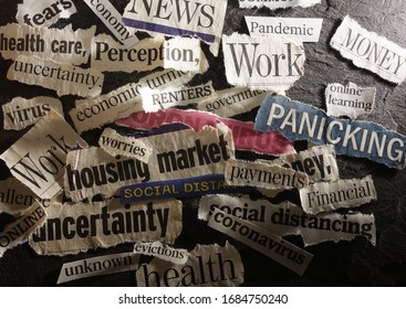 Corona Virus and economic related news headlines on dark background