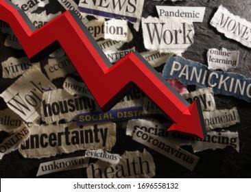 Corona Virus and economic related news headlines with red down arrow