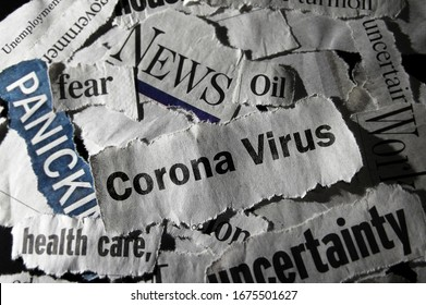 Corona Virus news with assorted negative news headlines surrounding it