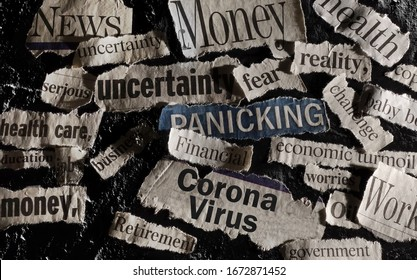 Corona Virus news with assorted related newspaper headlines surrounding it