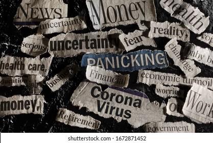 Corona Virus news with assorted related newspaper headlines surrounding it                          - Shutterstock ID 1672871452