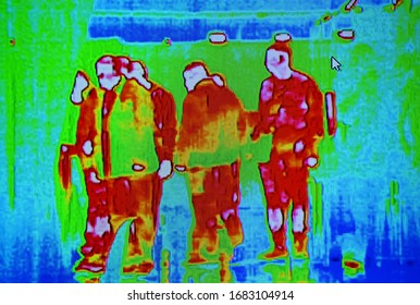 corona virus thermal scanning, people group infected by influenza coronavirus under thermal imaging camera aka thermal unit, modern airport passenger crowd healthcare diversity