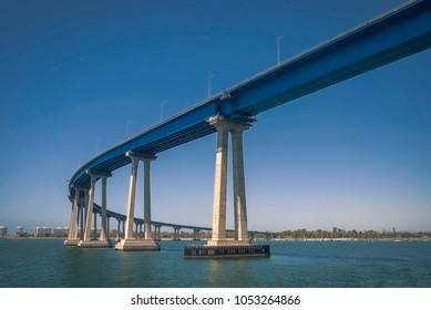 The Coronado Bridge linking San Diego with the resort city of Coronado in Southern California