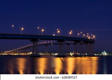Coronado bridge at night, San Diego, California
