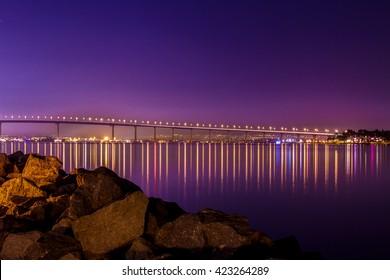 Coronado Bridge A night shot of the Coronado Bridge in San Diego California.