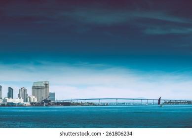 Coronado Bridge and Park of San Diego Skyline. California, USA.