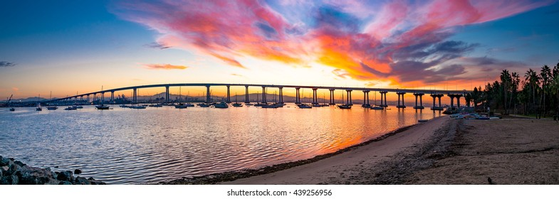 Coronado Bridge sunrise panorama.  San Diego, California USA.