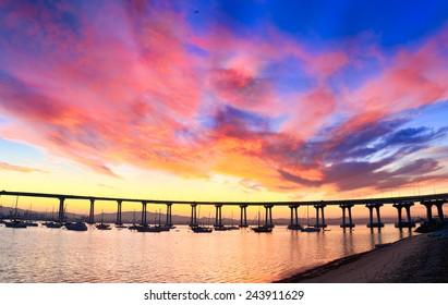 Coronado Bridge Sunrise, San Diego California, USA