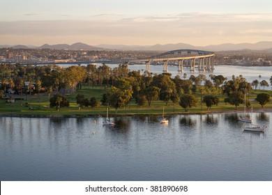 Coronado California dawn. Dawn arrives at Coronado Island revealing the bay, golf course, village and coronado bridge.