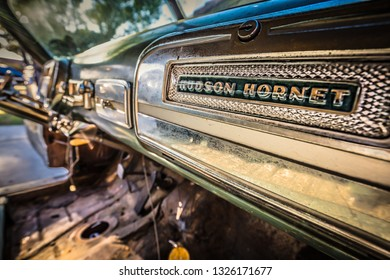 Coronado, California / United States – January 25, 2016: The dashboard of an unrestored 1953 Hudson Hornet.