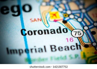 Coronado. California. USA on a map