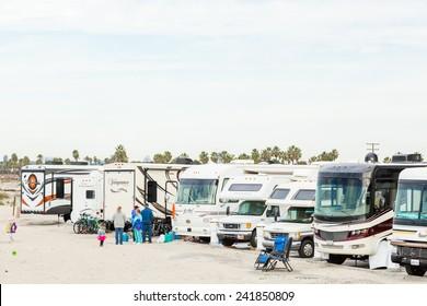 Coronado, California, USA-December 28, 2014. Winter RV camping on cost of California.