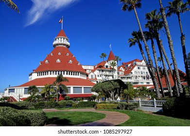Coronado, San Diego, California, USA - February 4, 2018 - Hotel del Coronado on Coronado Island. Hotel del Coronado is a beachfront historic hotel that was opened in 1888.