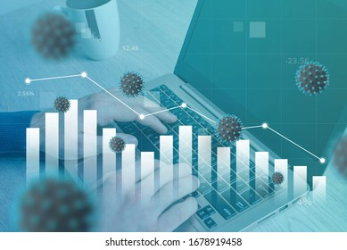 Coronavirus affects the decline of the world economy. Concept of working and analyzing data on a computer. Stock graph fall