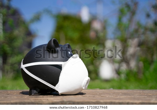 Corona-Virus black Piggy Bank with mask