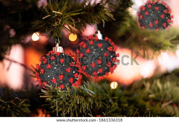 Coronavirus as Christmas decorations on a Xmas tree.Winter wave of coronavirus infection, Christmas and covid-19 concept. Copy-space available