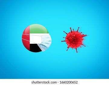 Coronavirus / Corona virus attack concept. UAE or The United Arab Emirates put mask to fight against Corona virus. Concept of fight against virus. Coronavirus outbreak on UAE influenza background.