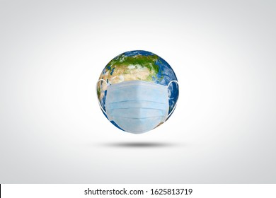 Coronavirus / Corona virus concept. world/ earth put mask to fight against Corona virus. Concept of fight against virus. world health day, earth day and climate change, environment day concept.