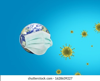 Coronavirus or Corona virus concept. world or earth put mask to fight against Corona virus. Concept of fight against COVID19 virus. Coronavirus outbreak and coronaviruses influenza background.