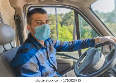 Coronavirus. Courier in protective mask and rubber gloves make delivery service. Delivery service under quarantine, disease outbreak, coronavirus pandemic conditions. Transportation. Heroes. Truck.
