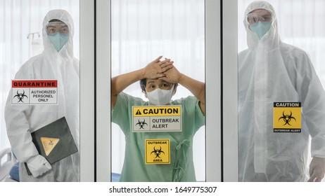 coronavirus covid 19 infected patient in covid 19 quarantine room with quarantine and outbreak alert sign at hospital and coronavirus disease control experts, coronavirus covid 19 outbreak control