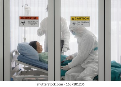 coronavirus covid 19 infected patient in quarantine room with quarantine and outbreak alert sign at hospital with disease control experts make disease treatment, coronavirus covid 19 outbreak control