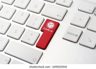Coronavirus and Covid-19 button on keyboard