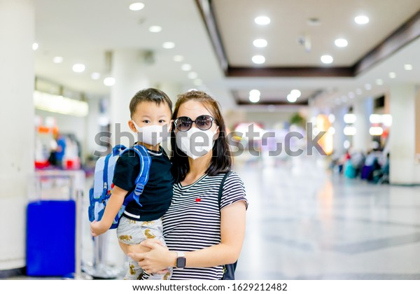 Coronavirus Covid19 Conceptlittle Chinese Boy Mother Stock Photo