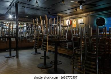 Coronavirus COVID-19, Empty small local bar and restaurant, March 27, 2020