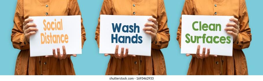 Coronavirus COVID-19 Leitlinien für die Gesundheitssicherheit. Frau, die Papier mit Regeln hält, soziale Distanzierung praktiziert, Hände waschen, saubere Oberflächen, Handwäsche, bleiben zu Hause.