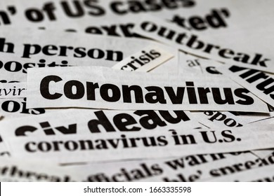 Coronavirus, covid-19, newspaper headline clippings. Print media information isolated