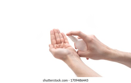 Coronavirus or covid-19 prevention. Hand disinfection with alcohol spray. Man hands using the sanitizer isolated on a white background. Antiseptic and Healthcare concept.