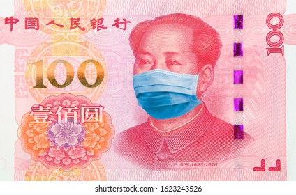 Coronavirus COVID-19 Wuhan illness. Concept: Quarantine in China, 100 Yuan banknote with face mask. Economy and financial markets affected by corona virus outbreak and pandemic fears. Digital montage.