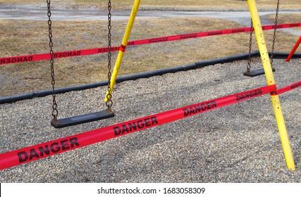 coronavirus danger sign playground closed covid-19 restriction