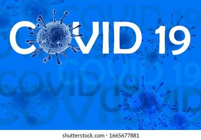 Coronavirus disease COVID-19 infection, medical illustration. New official name for Coronavirus disease named COVID-19, pandemic risk, blue background