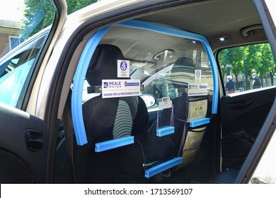 Coronavirus epidemic:  Plexiglas partition panel inside the taxi to protect against virus infection. Turin, Italy - April 2020