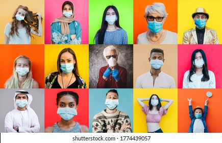 Coronavirus faces collage. Composition with different multi ethnic people wearing medical mask against the pandemic event in 2020