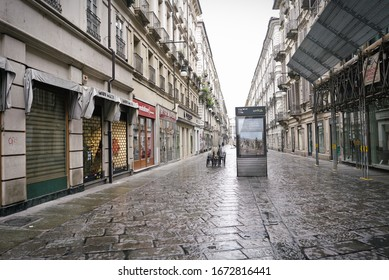 Coronavirus impact, empty downtown street Turin, Italy - March 2020