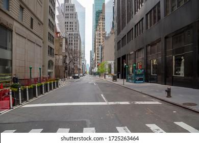 Coronavirus impact, empty midtown street New York, USA - Aptil 2020