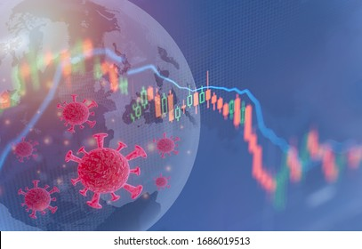Coronavirus impact global economy stock markets financial crisis concept,The coronavirus or covid-19 sinks the global stock exchanges. Graphs representing the stock market crash caused by Coronavirus