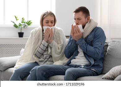 Coronavirus infection. Sick spouses coughing at home, self-isolate together