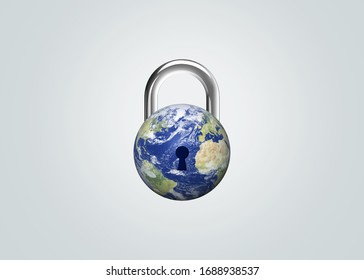 CORONAVIRUS LOCKDOWN. Covid-19 Pandemic world lockdown for quarantine. World many country and city under lockdown concept. Earth day or environment day concept. - Shutterstock ID 1688938537