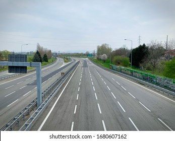 Coronavirus lockdown impact, the highway is completely empty  Turin, Italy - March 2020