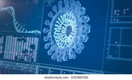 Coronavirus model on computer screen. Futuristic laboratory research