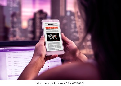 Coronavirus News. Woman in the office with smartphone in her hands reading about covid-19 virus. Online newspaper page in the screen.  Breaking news.