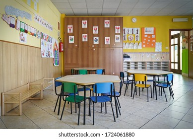 Coronavirus outbreak lifestyle: preschool closed, chair and table in class room. Turin, Italy - May 2020
